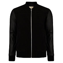 Buy Selected Homme Perry Mix Leather Jacket, Black Online at johnlewis.com