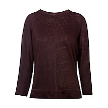 Buy Whistles Holly 3/4 Sleeve Linen Top, Burgundy Online at johnlewis.com