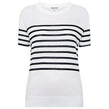 Buy Whistles Placement Stripe Linen T-Shirt, Blue / Multi Online at johnlewis.com