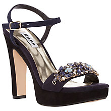 Buy Dune Meghan Suede Bejewelled High Heel Sandals, Blue Online at johnlewis.com
