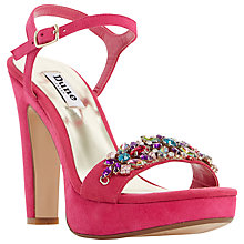 Buy Dune Meghan Suede Bejewelled High Heel Sandals, Raspberry Online at johnlewis.com
