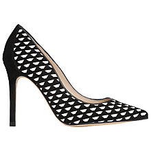 Buy L.K. Bennett Inferna Woven Leather Court Shoes, Black/White Online at johnlewis.com
