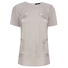 Buy Oasis Floral Embroidered T-Shirt, Stone Online at johnlewis.com