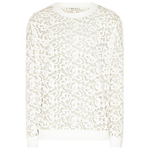 Buy Reiss Carter Sheer Lace Sweatshirt, White Online at johnlewis.com