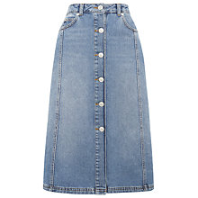 Buy Whistles Denim Button Front Midi Skirt, Blue Online at johnlewis.com