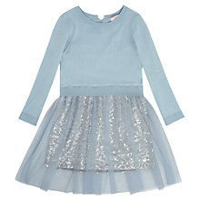 Buy Jigsaw Junior Girls' Sequin 2-In-1 Knit Dress, Light Blue Online at johnlewis.com