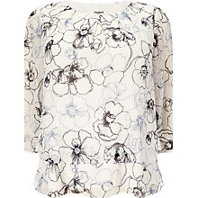 Buy Studio 8 Daisy Linear Print Silk Blouse, White Online at johnlewis.com