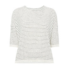 Buy Whistles Rib Detail Stripe Boxy T-Shirt, Black/Multi Online at johnlewis.com