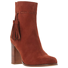 Buy Dune Patience Tassel Detail Ankle Boots, Rust Suede Online at johnlewis.com