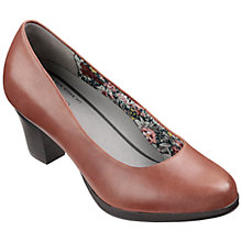 Buy Hotter Angelica Leather Block Heeled Court Shoes, Mid Brown Online at johnlewis.com