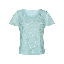 Buy Jacques Vert Linear Lines Embellished Top, Light Blue Online at johnlewis.com