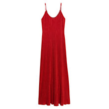 Buy Mango Long Pleated Dress, Dark Red Online at johnlewis.com