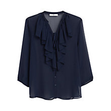 Buy Mango Textured Ruffle Blouse, Dark Blue Online at johnlewis.com