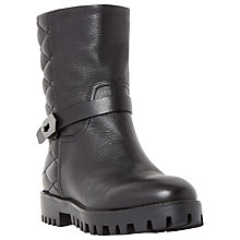 Buy Dune Black Patcher Cleated Sole Calf Boots, Black Online at johnlewis.com