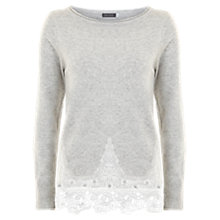 Buy Mint Velvet Lace Hem Knit Jumper, Grey Online at johnlewis.com
