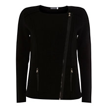 Buy Mint Velvet Zip Pocket Knitted Jacket, Black Online at johnlewis.com