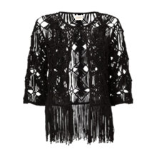 Buy East Crochet Shrug, Black Online at johnlewis.com