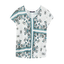 Buy Violeta by Mango Linen Printed T-Shirt, Bright Green Online at johnlewis.com