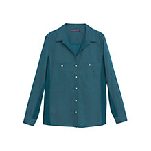 Buy Violeta by Mango Cotton Contrast Panels Blouse, Bright Green Online at johnlewis.com
