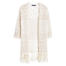 Buy Violeta by Mango Long Textured Cotton-Blend Cardigan, Natural White Online at johnlewis.com