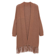 Buy Violeta by Mango Long Cardigan, Dark Brown Online at johnlewis.com