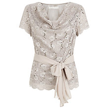 Buy Jacques Vert Stretch Lace Cowl Top, Mid Neutral Online at johnlewis.com