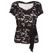 Buy Jacques Vert Opulent Lace Belt Top, Multi Black Online at johnlewis.com
