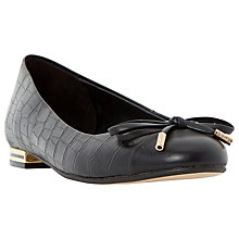 Buy Dune Hyla Bow Detail Ballerina Pumps, Black Croc Online at johnlewis.com