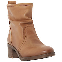 Buy Dune Polizzi Leather Block Heeled Ankle Boots, Tan Online at johnlewis.com