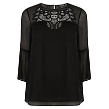 Buy Warehouse Embroidered Smock Top, Black Online at johnlewis.com