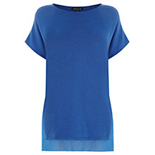 Buy Warehouse Woven Border Top, Blue Online at johnlewis.com