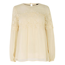 Buy Warehouse Lace Smock Top, Cream Online at johnlewis.com