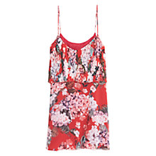 Buy Mango Floral Print Frill Dress, Medium Pink Online at johnlewis.com