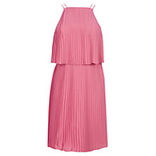 Buy Warehouse Plisse Pleated Midi Dress, Light Pink Online at johnlewis.com