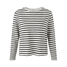 Buy Jigsaw Cotton Breton Top, Black Online at johnlewis.com