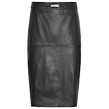 Buy Reiss Cleo Leather-Panel Pencil Skirt, Black Online at johnlewis.com