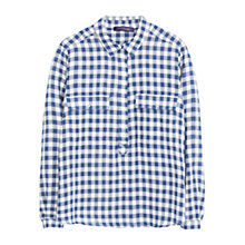 Buy Violeta by Mango Cotton Check Blouse, Dark Blue Online at johnlewis.com
