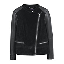 Buy Violeta by Mango Zip Leather Jacket, Black Online at johnlewis.com