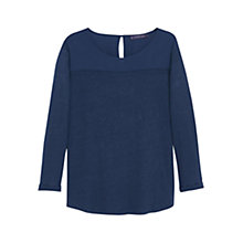 Buy Violeta by Mango Trim Linen T-Shirt, Navy Online at johnlewis.com