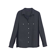Buy Violeta by Mango Cotton Panel Blouse, Navy Online at johnlewis.com