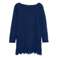 Buy Violeta by Mango Embroidered Hem T-Shirt, Navy Online at johnlewis.com