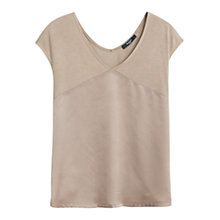 Buy Mango V-Neck T-Shirt, Medium Brown Online at johnlewis.com