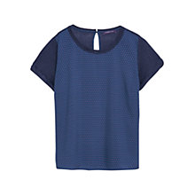 Buy Violeta by Mango Printed Panel T-Shirt, Navy Online at johnlewis.com