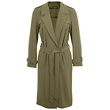 Buy Miss Selfridge Belted Flud Mac Coat, Khaki Online at johnlewis.com
