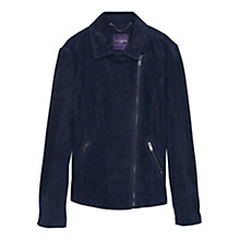 Buy Violeta by Mango Suede Zip Jacket, Navy Online at johnlewis.com