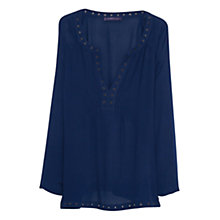 Buy Violeta by Mango Stud Textured Blouse, Navy Online at johnlewis.com
