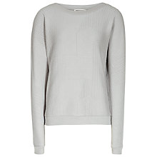 Buy Reiss Luxe Rib Quilted Sweatshirt, Soft Grey Online at johnlewis.com