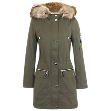 Buy Miss Selfridge Luxe Parka, Khaki Online at johnlewis.com