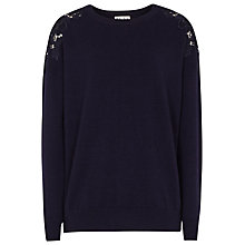 Buy Reiss Merino Wool Aurelia Lace Shoulder Jumper, Night Navy Online at johnlewis.com