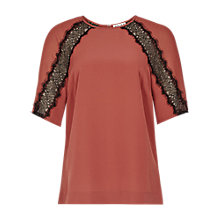 Buy Reiss Ariel Lace Insert Raglan Top, Ambrosia Online at johnlewis.com